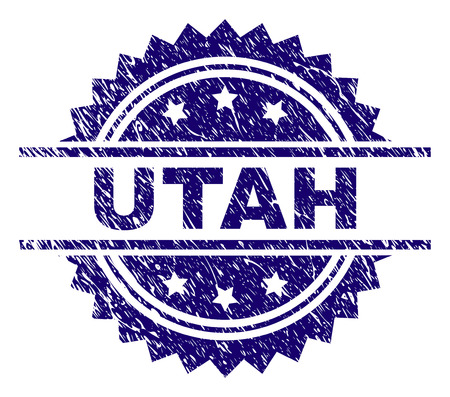 UTAH stamp seal watermark with distress style. Blue vector rubber print of UTAH title with corroded texture. 向量圖像