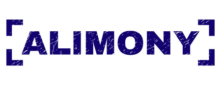 ALIMONY caption seal print with grunge effect. Text caption is placed inside corners. Blue vector rubber print of ALIMONY with dirty texture.