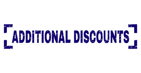 ADDITIONAL DISCOUNTS title seal print with corroded texture. Text tag is placed between corners. Blue vector rubber print of ADDITIONAL DISCOUNTS with corroded texture.