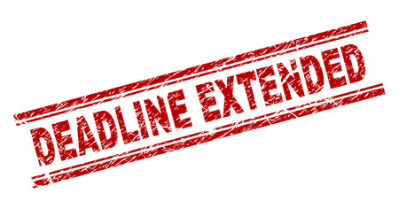 DEADLINE EXTENDED seal print with grunge texture. Red vector rubber print of DEADLINE EXTENDED label with dirty texture. Text label is placed between double parallel lines.