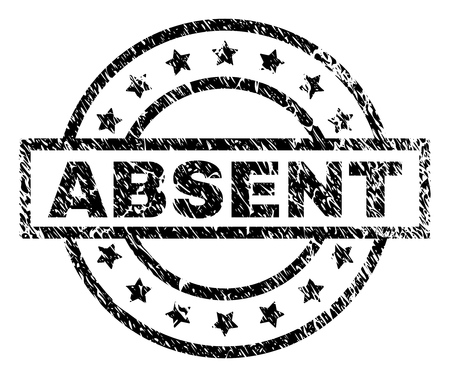 ABSENT stamp seal watermark with distress style. Designed with rectangle, circles and stars. Black vector rubber print of ABSENT tag with scratched texture.
