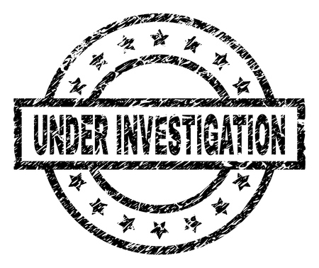 UNDER INVESTIGATION stamp seal watermark with distress style. Designed with rectangle, circles and stars. Black vector rubber print of UNDER INVESTIGATION text with corroded texture.  イラスト・ベクター素材