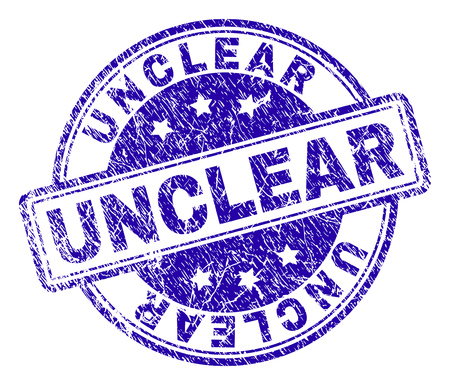 UNCLEAR stamp seal watermark with grunge texture. Designed with rounded rectangles and circles. Blue vector rubber print of UNCLEAR caption with grunge texture.