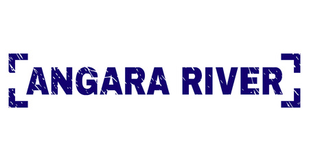 ANGARA RIVER text seal print with grunge texture. Text tag is placed between corners. Blue vector rubber print of ANGARA RIVER with corroded texture. Foto de archivo - 126662199
