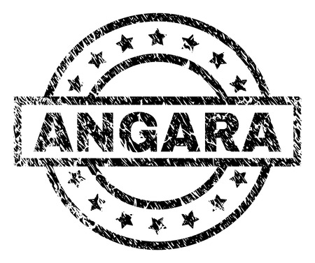 ANGARA stamp seal watermark with distress style. Designed with rectangle, circles and stars. Black vector rubber print of ANGARA label with retro texture. Foto de archivo - 126662206