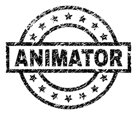 ANIMATOR stamp seal watermark with distress style. Designed with rectangle, circles and stars. Black vector rubber print of ANIMATOR caption with unclean texture.