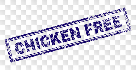 CHICKEN FREE stamp seal watermark with rubber print style and double framed rectangle shape. Stamp is placed on a transparent background.