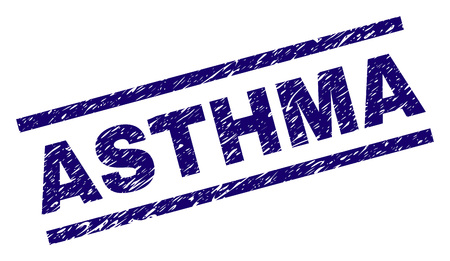 ASTHMA seal print with scratced style. Blue vector rubber print of ASTHMA text with dust texture. Text label is placed between parallel lines. Illustration