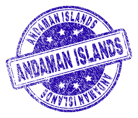 ANDAMAN ISLANDS stamp seal imprint with grunge texture. Designed with rounded rectangles and circles. Blue vector rubber print of ANDAMAN ISLANDS caption with grunge texture.