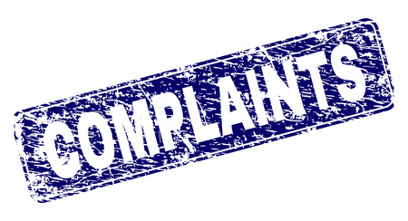 COMPLAINTS stamp seal print with grunge style. Seal shape is a rounded rectangle with frame. Blue vector rubber print of COMPLAINTS label with grunge texture.