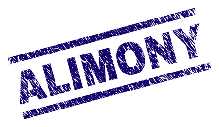 ALIMONY seal print with scratced style. Blue vector rubber print of ALIMONY text with dust texture. Text caption is placed between parallel lines.