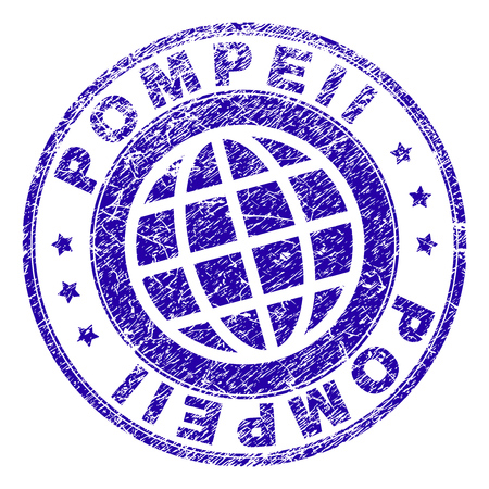 POMPEII stamp print with grunge texture. Blue vector rubber seal imprint of POMPEII label with retro texture. Seal has words arranged by circle and planet symbol.