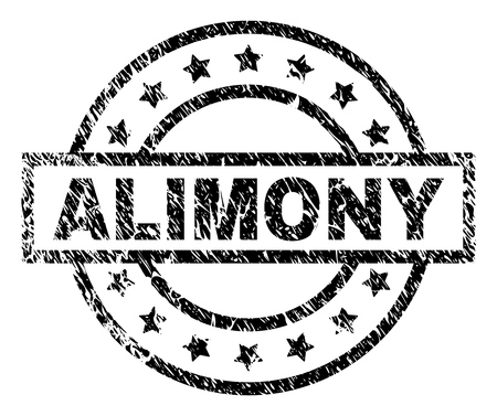 ALIMONY stamp seal watermark with distress style. Designed with rectangle, circles and stars. Black vector rubber print of ALIMONY title with dust texture. Vettoriali