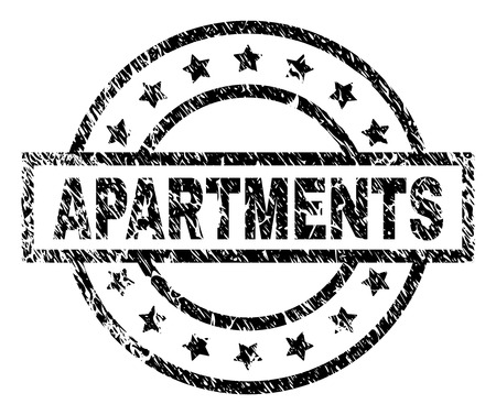 APARTMENTS stamp seal watermark with distress style. Designed with rectangle, circles and stars. Black vector rubber print of APARTMENTS tag with scratched texture.
