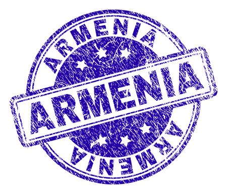ARMENIA stamp seal watermark with grunge texture. Designed with rounded rectangles and circles. Blue vector rubber print of ARMENIA text with corroded texture.