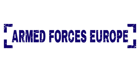 ARMED FORCES EUROPE text seal print with corroded texture. Text label is placed inside corners. Blue vector rubber print of ARMED FORCES EUROPE with unclean texture. Vektoros illusztráció