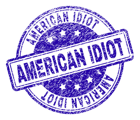 AMERICAN IDIOT stamp seal imprint with distress texture. Designed with rounded rectangles and circles. Blue vector rubber print of AMERICAN IDIOT label with grunge texture. Ilustração