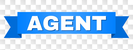 AGENT text on a ribbon. Designed with white caption and blue stripe. Vector banner with AGENT tag on a transparent background.