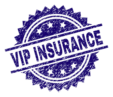 VIP INSURANCE stamp seal watermark with distress style. Blue vector rubber print of VIP INSURANCE caption with scratched texture.
