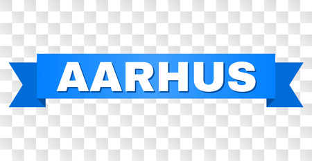 AARHUS text on a ribbon. Designed with white caption and blue stripe. Vector banner with AARHUS tag on a transparent background. Illustration