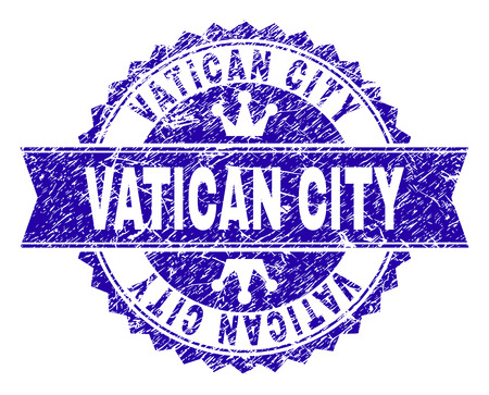 VATICAN CITY rosette stamp seal watermark with grunge style. Designed with round rosette, ribbon and small crowns. Blue vector rubber watermark of VATICAN CITY caption with grunge style.