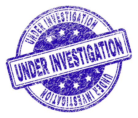UNDER INVESTIGATION stamp seal watermark with grunge texture. Designed with rounded rectangles and circles. Blue vector rubber print of UNDER INVESTIGATION title with grunge texture.