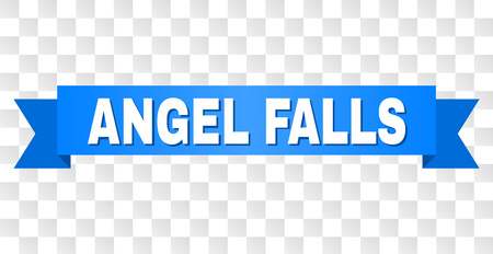 ANGEL FALLS text on a ribbon. Designed with white caption and blue stripe. Vector banner with ANGEL FALLS tag on a transparent background.