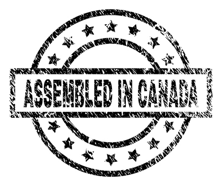 ASSEMBLED IN CANADA stamp seal watermark with distress style. Designed with rectangle, circles and stars. Black vector rubber print of ASSEMBLED IN CANADA tag with scratched texture. Vector Illustration
