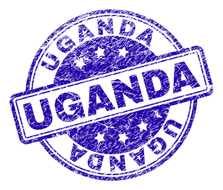 UGANDA stamp seal watermark with grunge texture. Designed with rounded rectangles and circles. Blue vector rubber print of UGANDA label with retro texture.