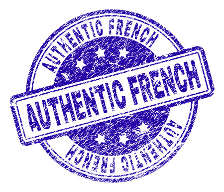 AUTHENTIC FRENCH stamp seal imprint with distress texture. Designed with rounded rectangles and circles. Blue vector rubber print of AUTHENTIC FRENCH caption with retro texture.