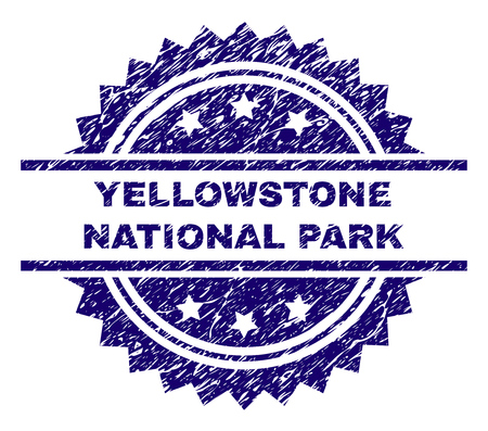 YELLOWSTONE NATIONAL PARK stamp seal watermark with distress style. Blue vector rubber print of YELLOWSTONE NATIONAL PARK tag with scratched texture.