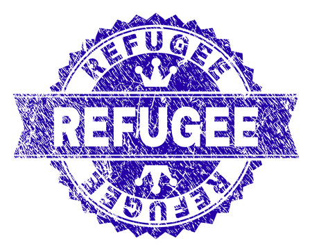 REFUGEE rosette seal imitation with distress style. Designed with round rosette, ribbon and small crowns. Blue vector rubber print of REFUGEE title with scratched style.