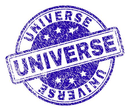 UNIVERSE stempelzegelafdruk met noodtextuur. Ontworpen met afgeronde rechthoeken en cirkels. Blauwe vectorrubberafdruk van UNIVERSE-bijschrift met vuile textuur.