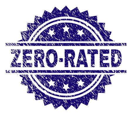 ZERO-RATED stamp seal watermark with distress style. Blue vector rubber print of ZERO-RATED text with scratched texture.