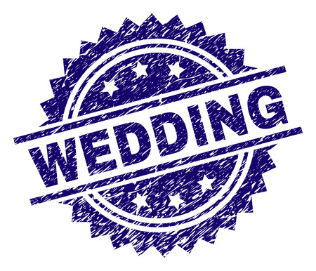 WEDDING stamp seal watermark with distress style. Blue vector rubber print of WEDDING text with dirty texture.