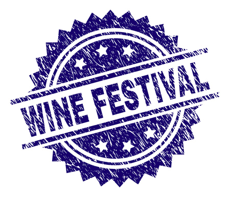 WINE FESTIVAL stamp seal watermark with distress style. Blue vector rubber print of WINE FESTIVAL title with corroded texture.