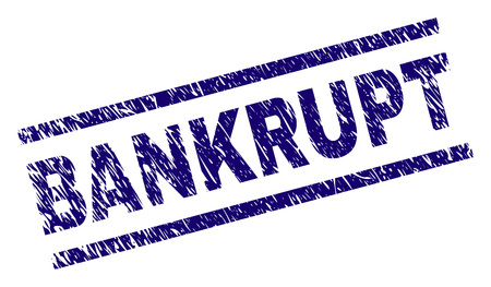 BANKRUPT seal print with distress style. Blue vector rubber print of BANKRUPT text with grunge texture. Text caption is placed between parallel lines.