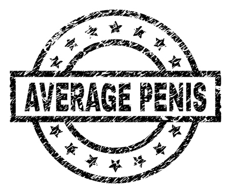 AVERAGE PENIS stamp seal watermark with distress style. Designed with rectangle, circles and stars. Black vector rubber print of AVERAGE PENIS title with corroded texture. Illustration