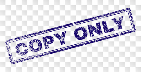 COPY ONLY 스탬프 씰은 고무 프린트 스타일과 이중 프레임 직사각형 모양으로 인쇄됩니다. 스탬프는 투명한 배경에 배치됩니다. 부식된 텍스처가 있는 COPY ONLY 레이블의 파란색 벡터 고무 인쇄.