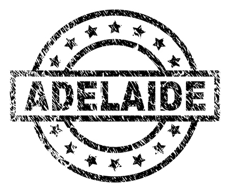 ADELAIDE stamp seal watermark with distress style. Designed with rectangle, circles and stars. Black vector rubber print of ADELAIDE label with scratched texture.