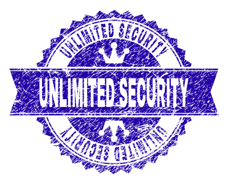 UNLIMITED SECURITY rosette stamp seal imprint with grunge style. Designed with round rosette, ribbon and small crowns. Blue vector rubber print of UNLIMITED SECURITY caption with grunge style. Vector Illustration