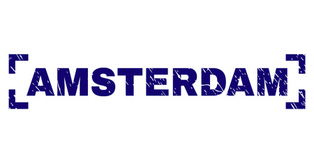 AMSTERDAM text seal print with grunge texture. Text caption is placed inside corners. Blue vector rubber print of AMSTERDAM with scratched texture.