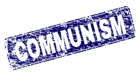 COMMUNISM stamp seal imprint with grunge texture. Seal shape is a rounded rectangle with frame. Blue vector rubber print of COMMUNISM title with grunge texture. Illustration