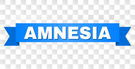 AMNESIA text on a ribbon. Designed with white title and blue tape. Vector banner with AMNESIA tag on a transparent background.