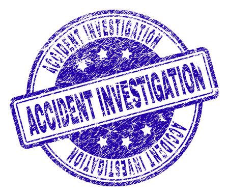 ACCIDENT INVESTIGATION stamp seal watermark with distress texture. Designed with rounded rectangles and circles. Blue vector rubber print of ACCIDENT INVESTIGATION caption with scratched texture.
