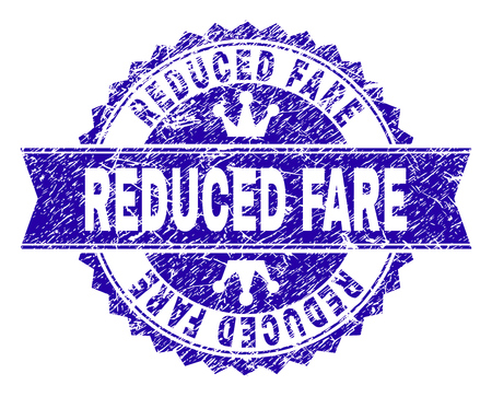 REDUCED FARE rosette stamp watermark with grunge texture. Designed with round rosette, ribbon and small crowns. Blue vector rubber watermark of REDUCED FARE label with grunge texture.