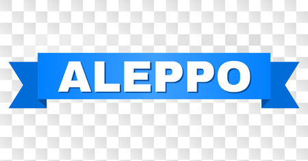 ALEPPO text on a ribbon. Designed with white caption and blue tape. Vector banner with ALEPPO tag on a transparent background. Ilustración de vector