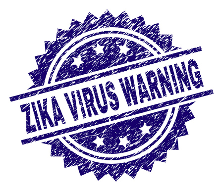 ZIKA VIRUS WARNING stamp seal watermark with distress style. Blue vector rubber print of ZIKA VIRUS WARNING tag with unclean texture.