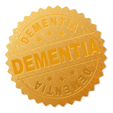 DEMENTIA gold stamp badge. Vector golden medal with DEMENTIA text. Text labels are placed between parallel lines and on circle. Golden area has metallic effect.