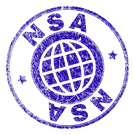 NSA stamp imprint with grunge texture. Blue vector rubber seal imprint of NSA caption with grunge texture. Seal has words arranged by circle and globe symbol.